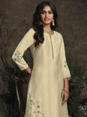 Cream Plain Trendy Salwar Suit