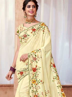 Cream Poly Silk Ceremonial Silk Saree