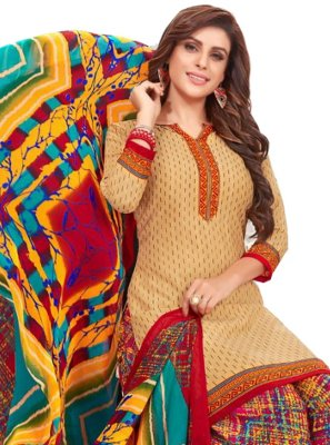 Cream Print Casual Salwar Suit