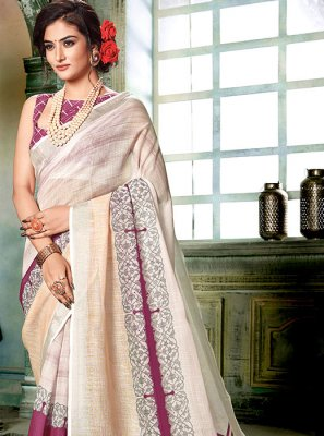 Cream Printed Casual Saree