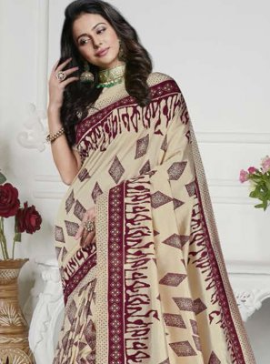 Cream Printed Classic Saree