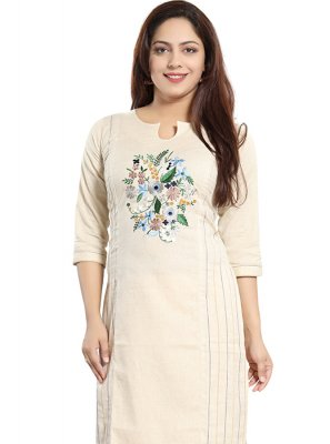 Cream Printed Cotton Casual Kurti