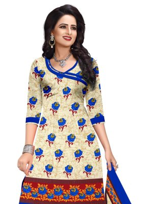 Cream Printed Cotton Salwar Suit