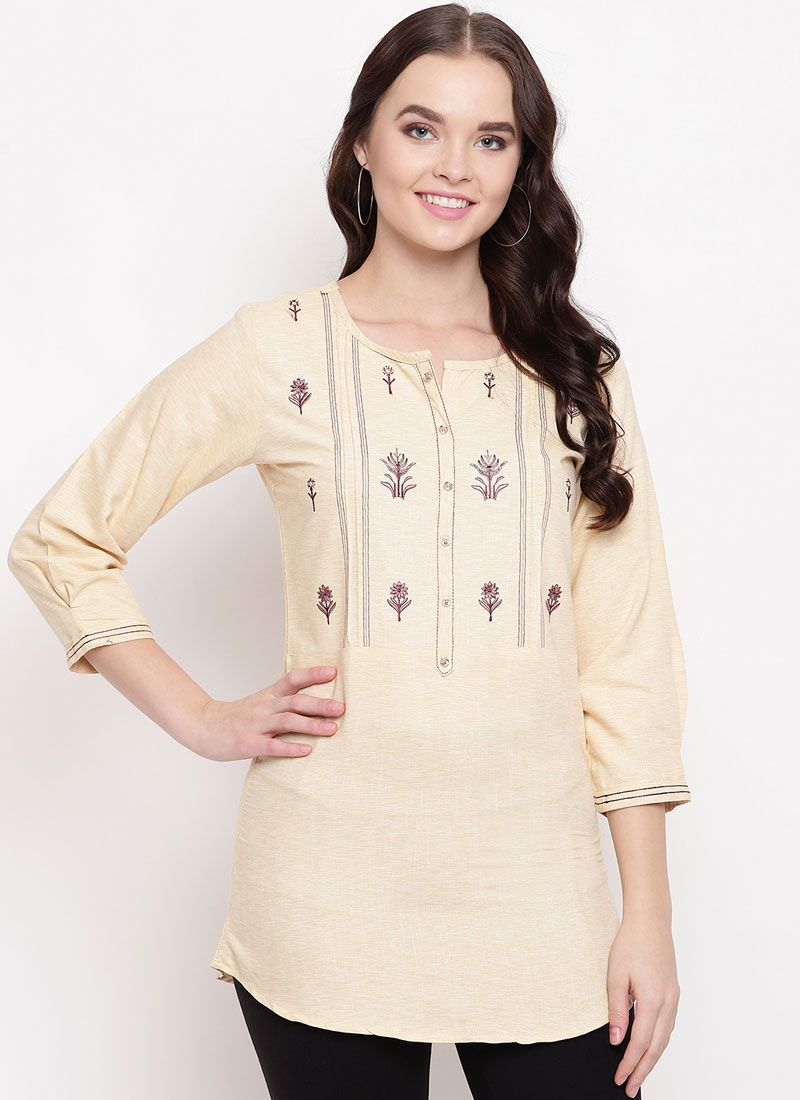 Cream Printed Festival Party Wear Kurti