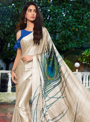 Cream Printed Festival Printed Saree