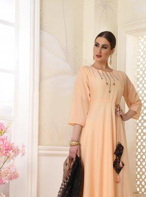 Cream Printed Muslin Salwar Suit
