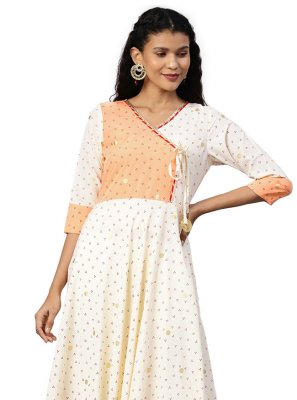 Cream Printed Party Designer Kurti