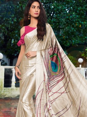 Cream Printed Saree