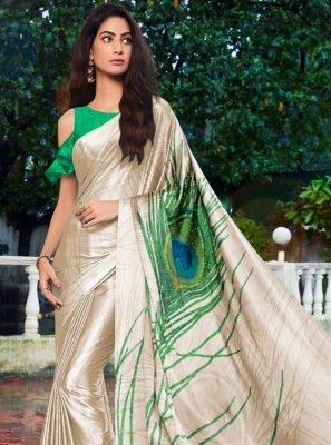 Cream Printed Satin Silk Printed Saree