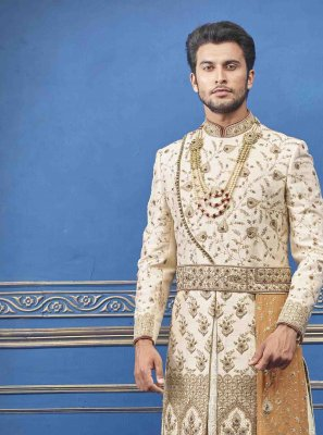 Cream Pure Silk Sherwani