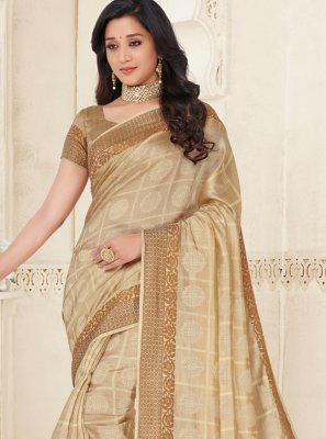 Cream Raw Silk Woven Contemporary Saree
