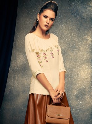 Cream Rayon Party Wear Kurti