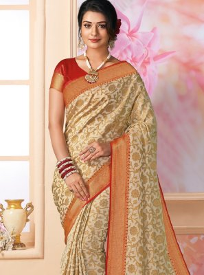 Cream Reception Designer Saree