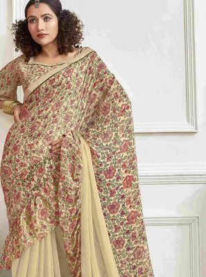 Cream Reception Faux Chiffon Printed Saree