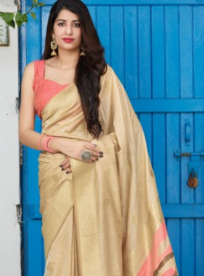 Cream Reception Silk Designer Saree