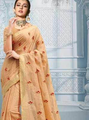 Cream Resham Designer Saree