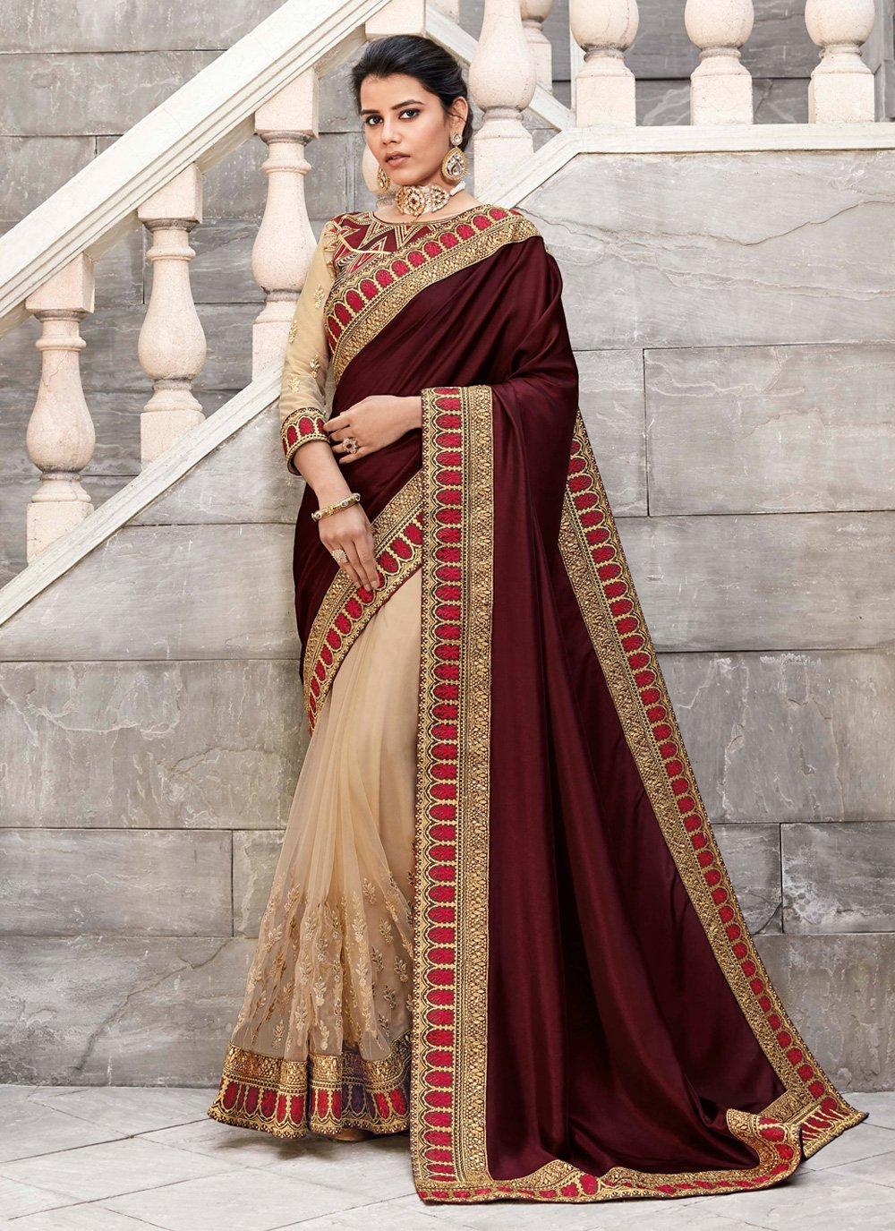 Cream Resham Designer Saree