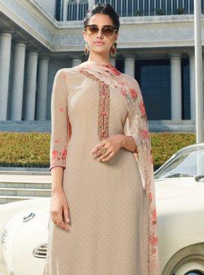 Cream Resham Georgette Designer Straight Salwar Kameez
