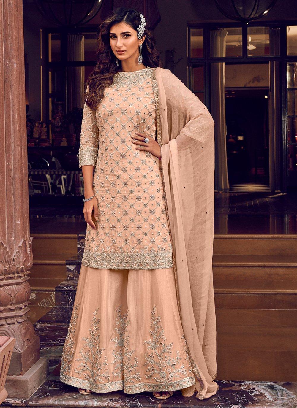 Cream Resham Georgette Trendy Palazzo Salwar Kameez