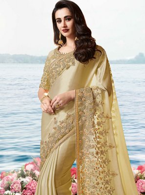 Cream Resham Traditional Saree