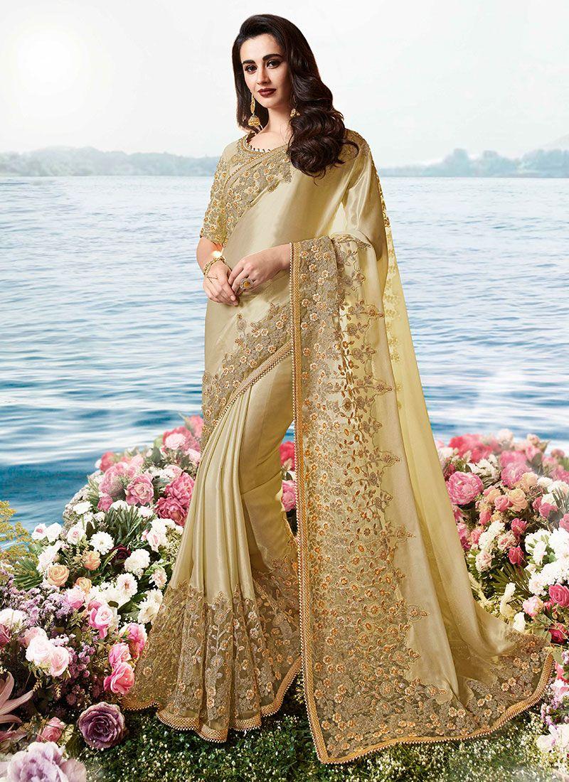 Cream Resham Traditional Saree