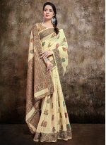 Cream Resham Trendy Saree