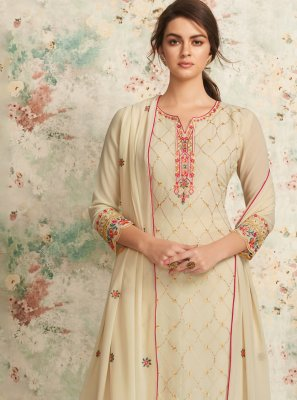 Cream Sangeet Georgette Trendy Salwar Suit