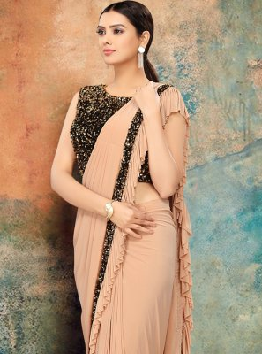 Cream Sequins Designer Bollywood Saree