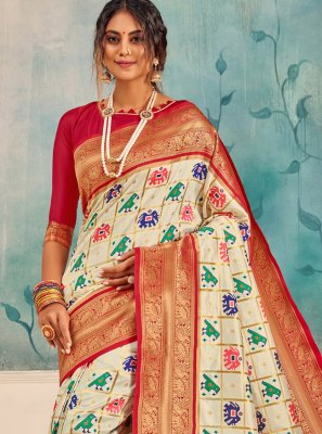 Cream Silk Party Classic Saree