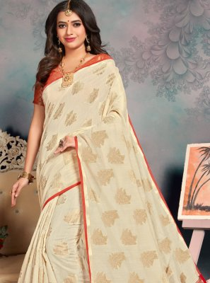 Cream Silk Party Designer Saree