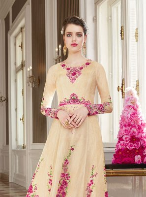 Cream Stone Georgette Floor Length Designer Suit