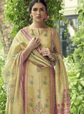 Cream Straight Salwar Kameez