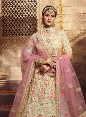 Cream Thread Bollywood Lehenga Choli