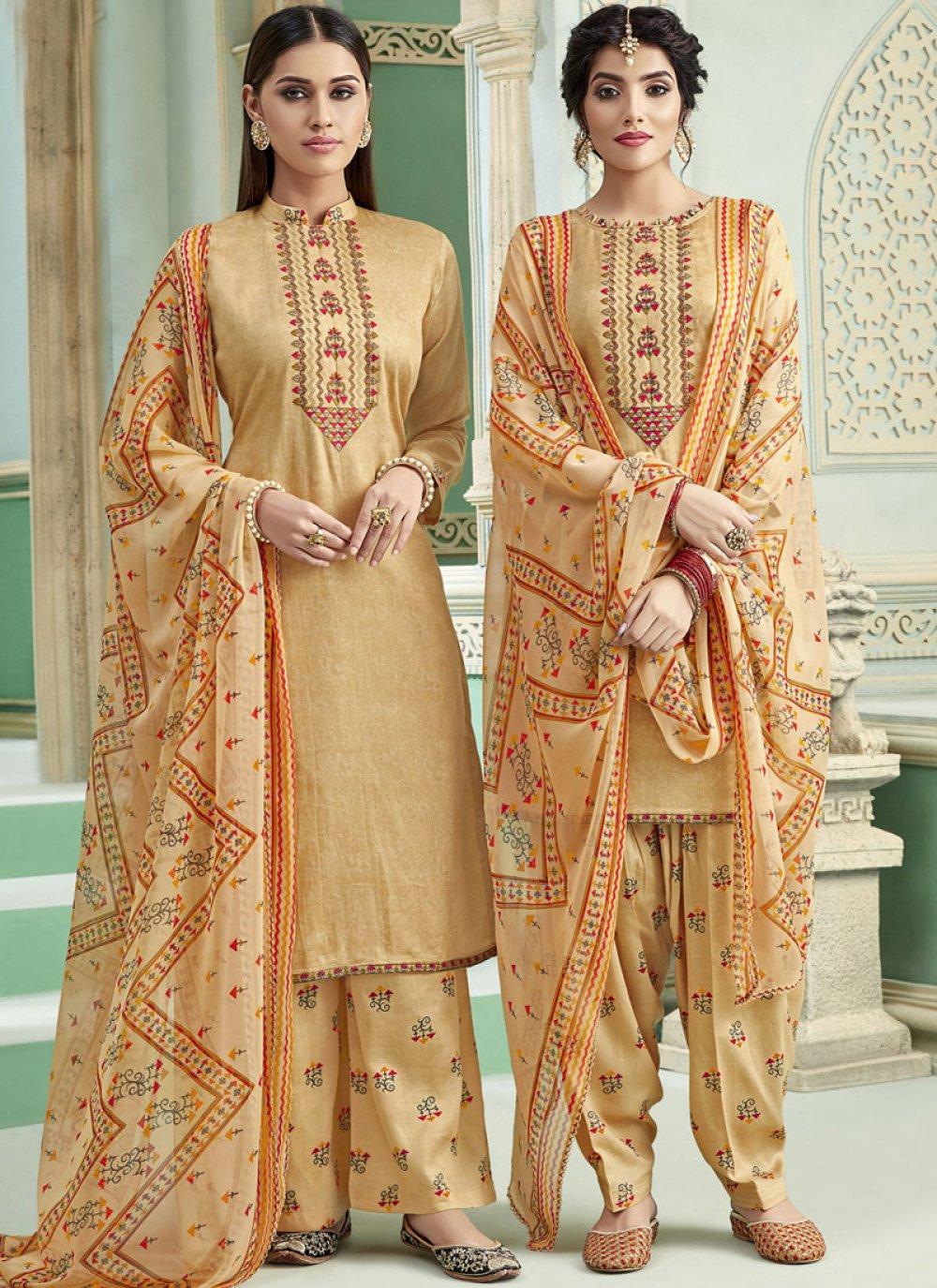 Cream Thread Cotton Punjabi Suit