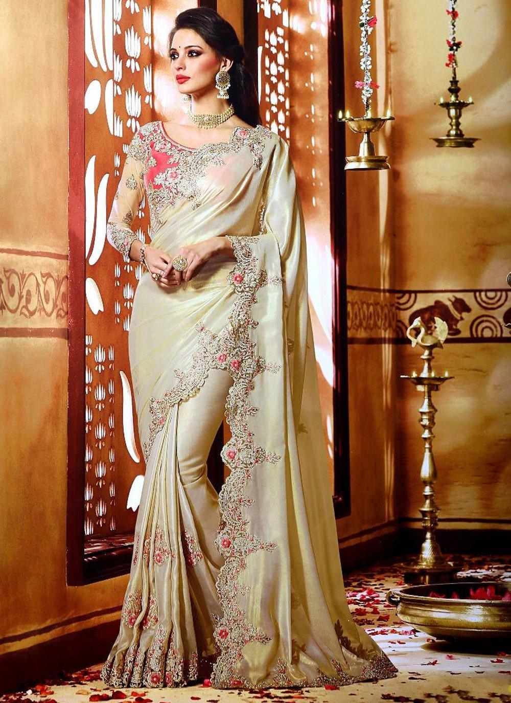 Cream Traditional Saree