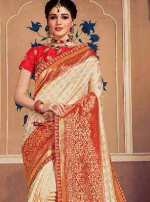 Cream Weaving Banarasi Silk Classic Saree