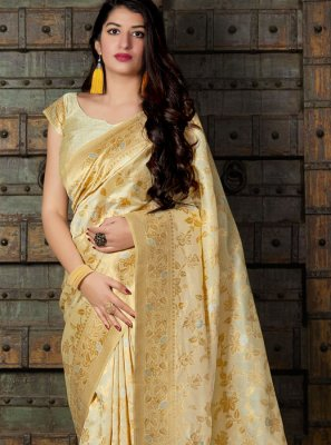 Cream Weaving Classic Saree
