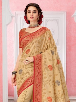 Cream Weaving Contemporary Saree