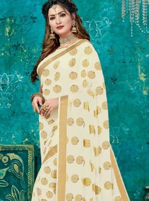 Cream Weaving Designer Traditional Saree