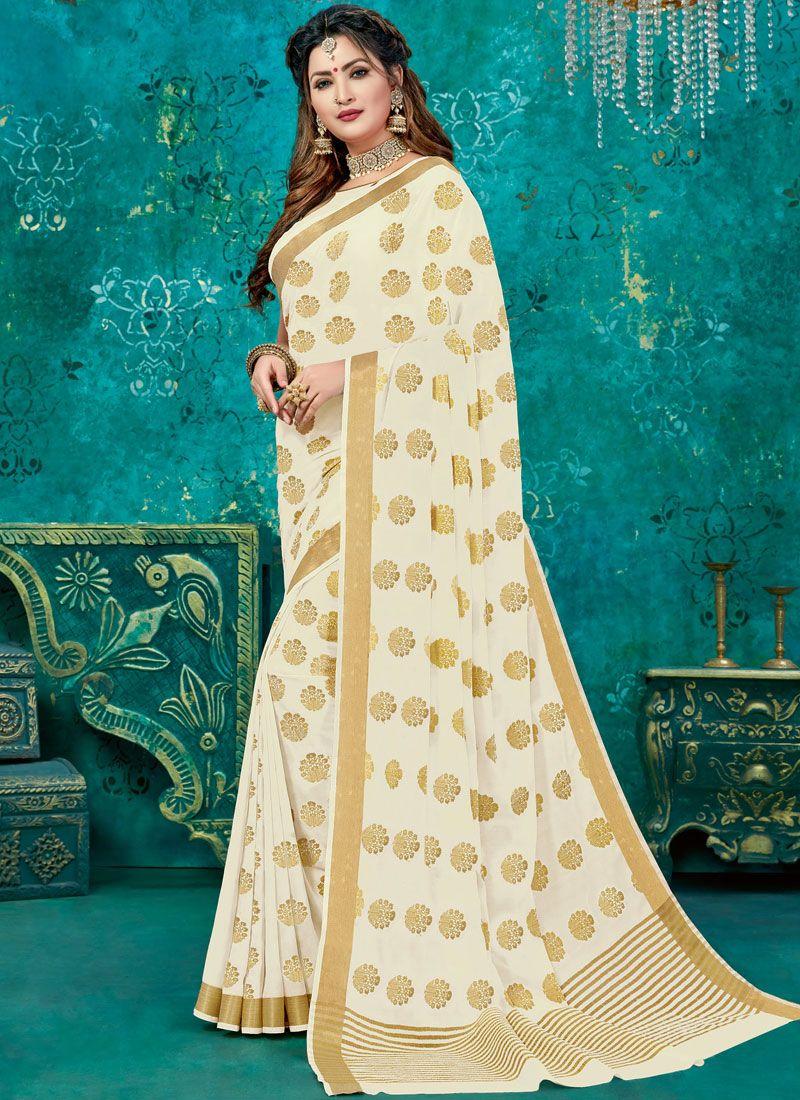 Cream Weaving Designer Traditional Saree