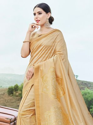 Cream Weaving Traditional Saree