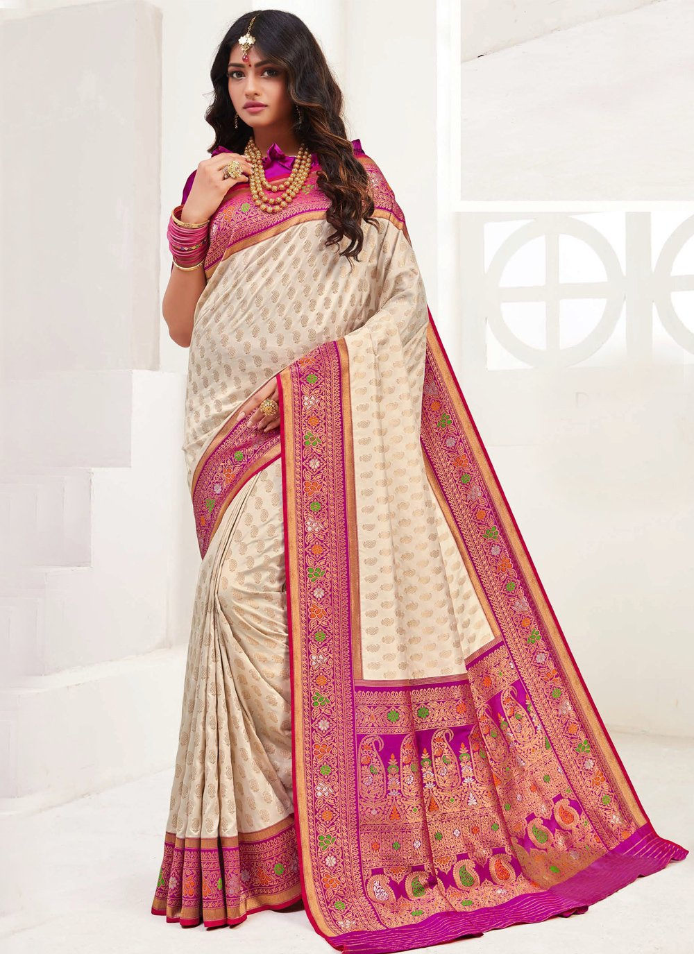 Cream Weaving Trendy Saree