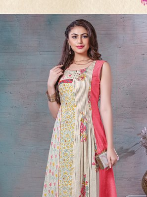 Cream Wedding Cotton Party Wear Kurti