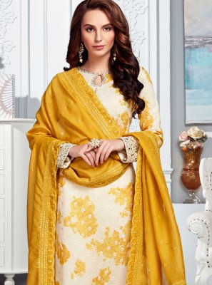 Cream Wedding Silk Designer Salwar Kameez