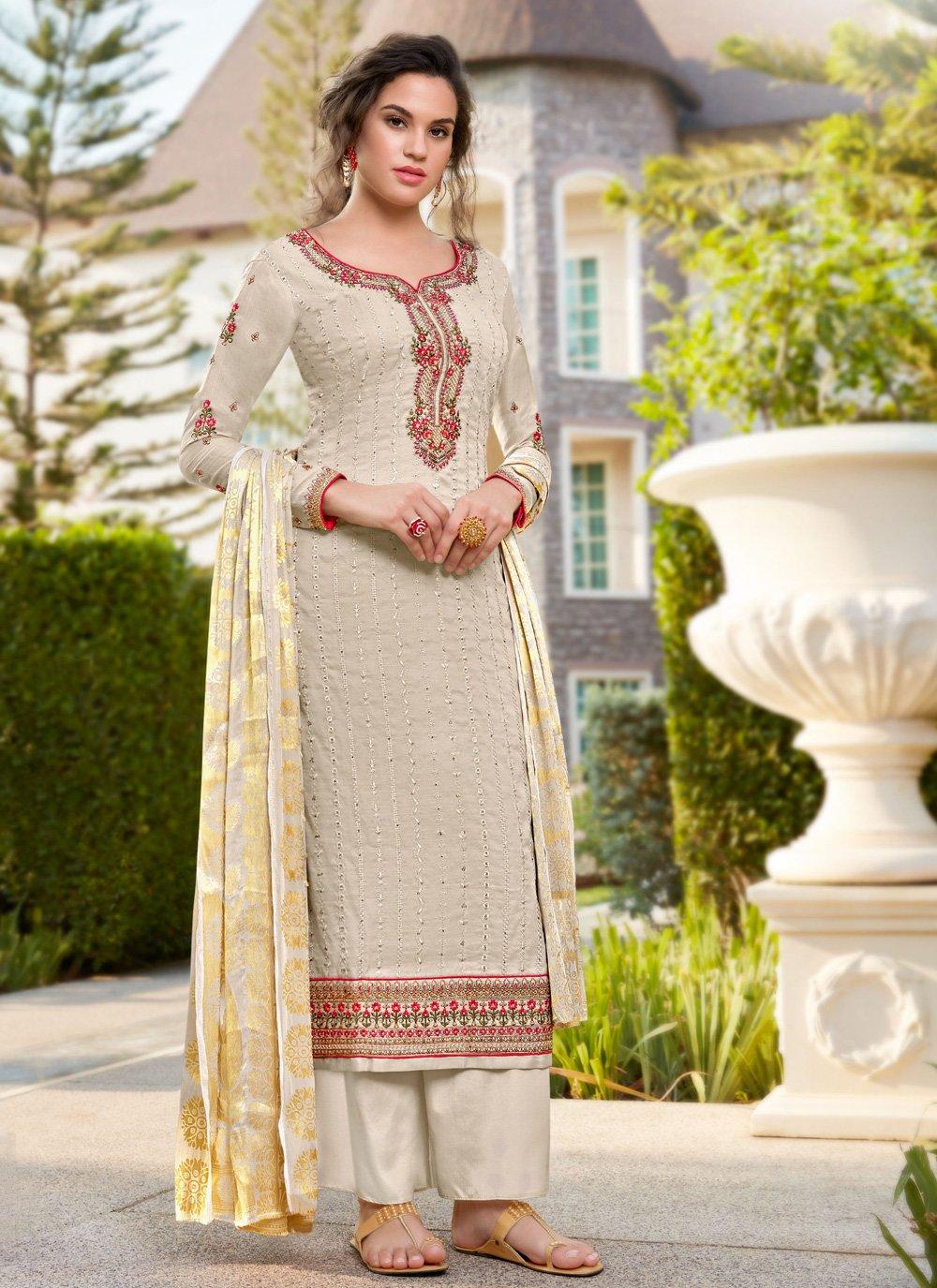 Cream Zari Silk Salwar Suit