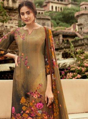 Crepe Silk Brown Trendy Palazzo Salwar Kameez