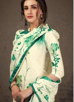 Crepe Silk Digital Print Off White and Sea Green Designer Pakistani Suit