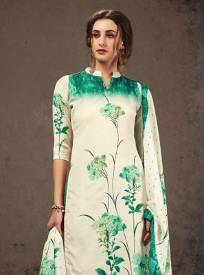 Crepe Silk Digital Print Off White and Sea Green Designer Pakistani Suit
