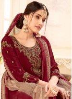 Crepe Silk Embroidered Maroon Salwar Suit