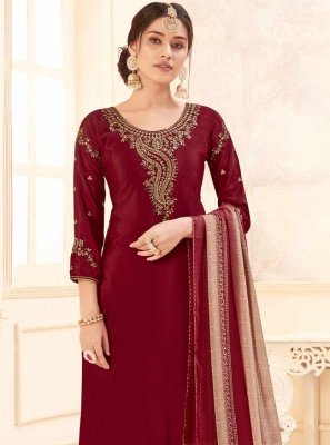 Crepe Silk Embroidered Maroon Salwar Suit
